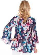 Floral Print Pleated Top Blue/Hot Pink - Gallery Image 2