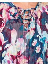 Floral Print Pleated Top Blue/Hot Pink - Gallery Image 3