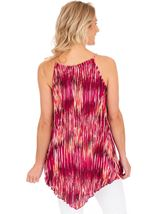 Pleated Sleeveless Print Tunic Cerise - Gallery Image 2