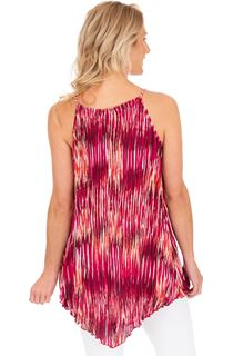 Pleated Sleeveless Print Tunic