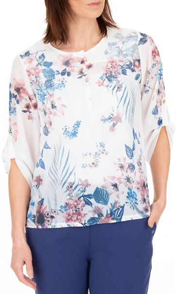 Anna Rose Embellished Floral Printed Semi Sheer Top White/Pink