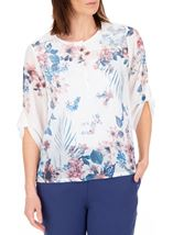Anna Rose Embellished Floral Printed Semi Sheer Top White/Pink - Gallery Image 1