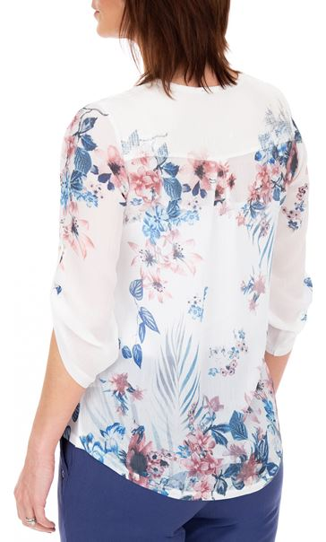 Anna Rose Embellished Floral Printed Semi Sheer Top White/Pink - Gallery Image 2