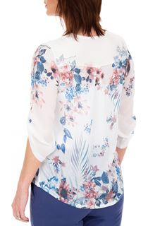 Anna Rose Embellished Floral Printed Semi Sheer Top
