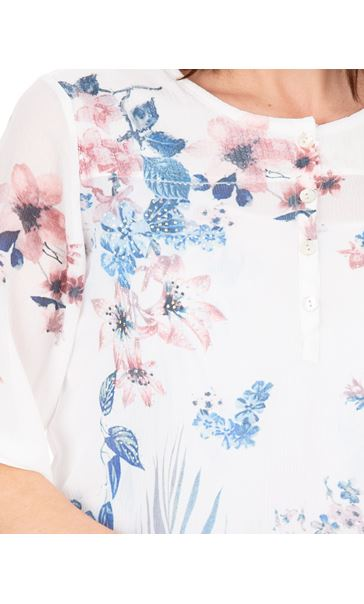 Anna Rose Embellished Floral Printed Semi Sheer Top White/Pink - Gallery Image 3
