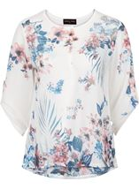 Anna Rose Embellished Floral Printed Semi Sheer Top White/Pink - Gallery Image 4