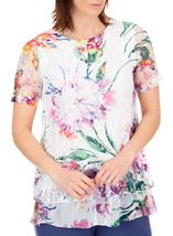 Anna Rose Embellished And Printed Lace Layer Top White/Multi - Gallery Image 1
