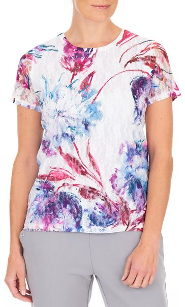 Anna Rose Printed Lace Layer Short Sleeve Top White/Pink