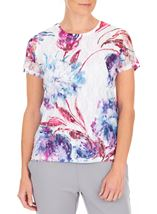 Anna Rose Printed Lace Layer Short Sleeve Top White/Pink - Gallery Image 1