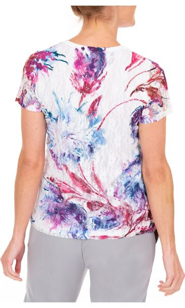 Anna Rose Printed Lace Layer Short Sleeve Top White/Pink - Gallery Image 2