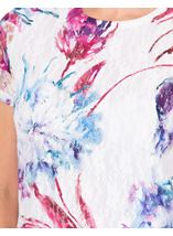 Anna Rose Printed Lace Layer Short Sleeve Top White/Pink - Gallery Image 3