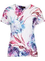 Anna Rose Printed Lace Layer Short Sleeve Top White/Pink - Gallery Image 4