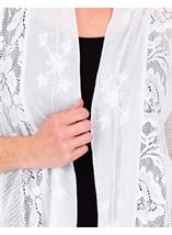 Lace Panel Longline Open Cardigan White - Gallery Image 3