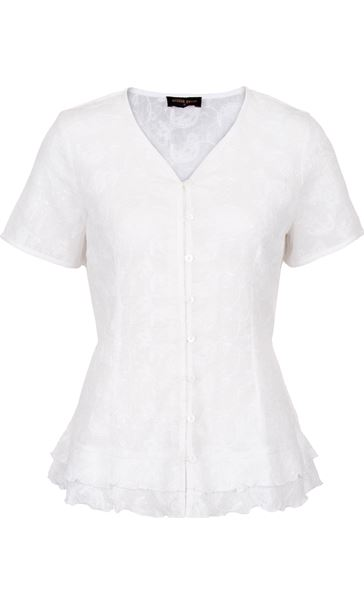Anna Rose Short Sleeve Embroidered Cotton Blouse White