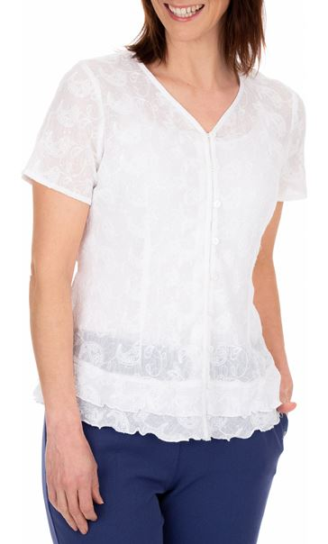 Anna Rose Short Sleeve Embroidered Cotton Blouse White - Gallery Image 2