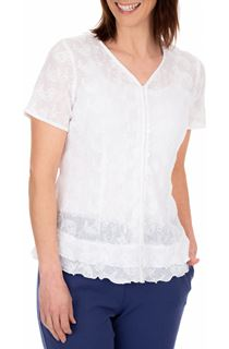 Anna Rose Short Sleeve Embroidered Cotton Blouse