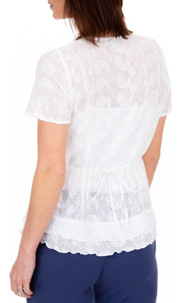 Anna Rose Short Sleeve Embroidered Cotton Blouse White - Gallery Image 3