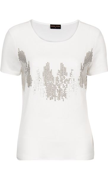 Anna Rose Sequin Chiffon Layered Top Ivory - Gallery Image 1