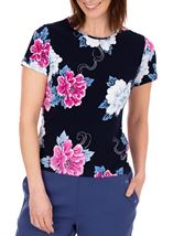 Anna Rose Short Sleeve Textured Floral Midnight/Hot Pink - Gallery Image 2