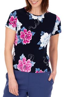 Anna Rose Short Sleeve Textured Floral