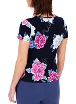 Anna Rose Short Sleeve Textured Floral Midnight/Hot Pink - Gallery Image 3