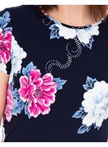 Anna Rose Short Sleeve Textured Floral Midnight/Hot Pink - Gallery Image 4