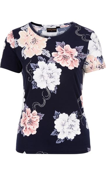 Anna Rose Short Sleeve Textured Floral Navy/Pink/Blue