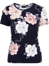Anna Rose Short Sleeve Textured Floral Navy/Pink/Blue - Gallery Image 1