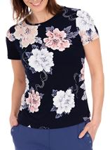 Anna Rose Short Sleeve Textured Floral Navy/Pink/Blue - Gallery Image 2