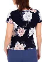 Anna Rose Short Sleeve Textured Floral Navy/Pink/Blue - Gallery Image 3