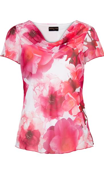 Anna Rose Floral Print Cowl Neck Top Hot Pink