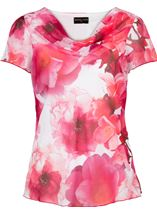 Anna Rose Floral Print Cowl Neck Top Hot Pink - Gallery Image 1