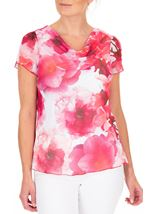 Anna Rose Floral Print Cowl Neck Top Hot Pink - Gallery Image 2