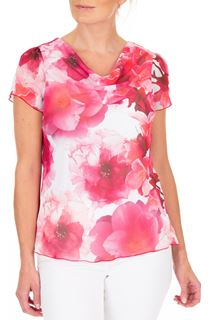 Anna Rose Floral Print Cowl Neck Top