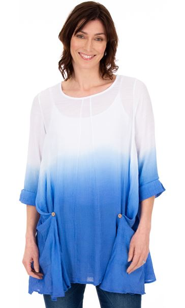 Loose Fit Ombre Tunic Blue/White