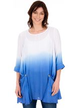 Loose Fit Ombre Tunic Blue/White - Gallery Image 1