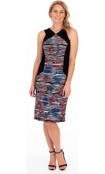 Printed Textured Panel Print Fitted dress Black/Multi