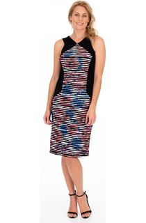Printed Textured Panel Print Fitted dress