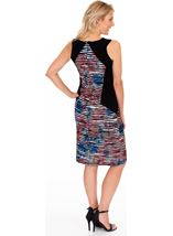 Printed Textured Panel Print Fitted dress Black/Multi - Gallery Image 2