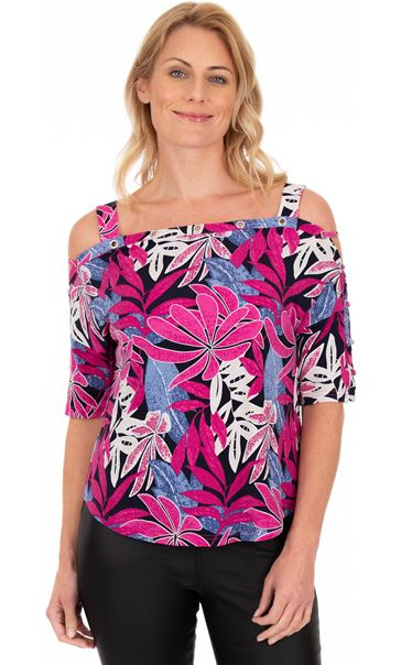 Printed Cold Shoulder Stretch Top Multi