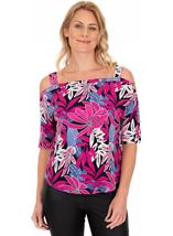 Printed Cold Shoulder Stretch Top Multi - Gallery Image 1