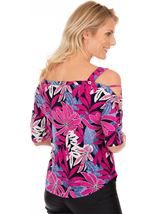 Printed Cold Shoulder Stretch Top Multi - Gallery Image 2