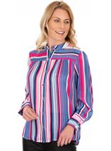Lurex Striped Long Sleeve Blouse