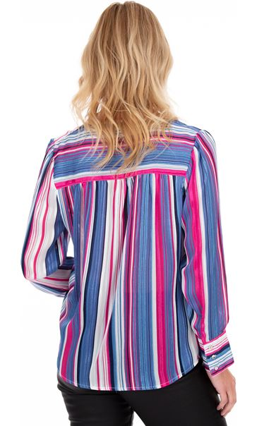 Lurex Striped Long Sleeve Blouse Midnight/Ivory/Pink - Gallery Image 2