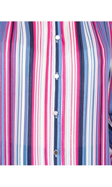 Lurex Striped Long Sleeve Blouse Midnight/Ivory/Pink - Gallery Image 3