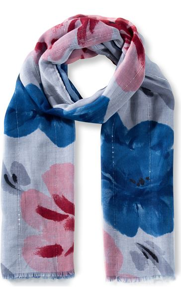 Anna Rose Floral Print And Ombre Lightweight Scarf Blue