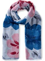 Anna Rose Floral Print And Ombre Lightweight Scarf Blue - Gallery Image 1