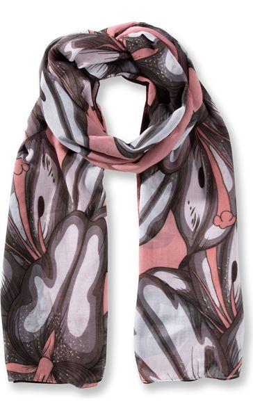 Lilly Printed Panel Lightweight Scarf Orange