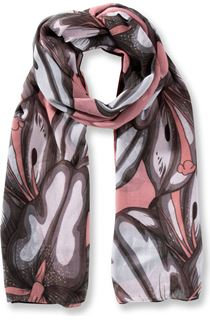 Lilly Printed Panel Lightweight Scarf - Orange