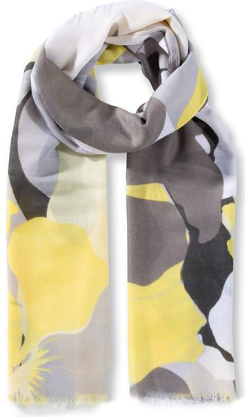Large Floral Printed Lightweight Scarf Yellow